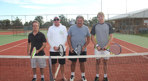 Allan Williams, Narrabri Tennis head coach Shane Murphy, Richard Baranski and Marcel Walsh at the Narrabri tennis courts yesterday afternoon before a practice hit.