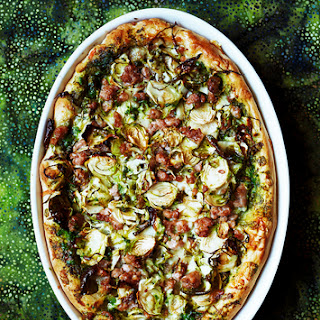 Deep-Dish Pizza with Turkey Sausage and Brussels Sprouts
