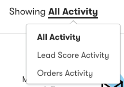 A person's activity drop-down to select the type of information to view.