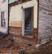 Photo: Back of Simon Lauck House, showing hall and stairs, 1974