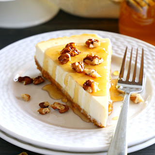 Healthy Honey Greek Yogurt Cheesecake.