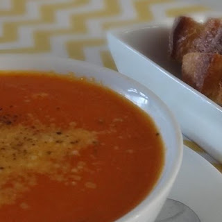 ... Autumn Veggie Soup with Roasted Garlic and Tomato Broth over Gnocchi