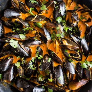 Red Curry Coconut Milk PEI Mussels.