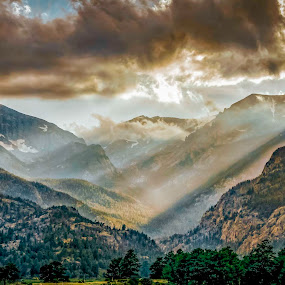 Golden Moment by Tomas Rupp - Landscapes Mountains & Hills ( clouds, mountains, mountain, nature, sunrays, sunlight, landscape )