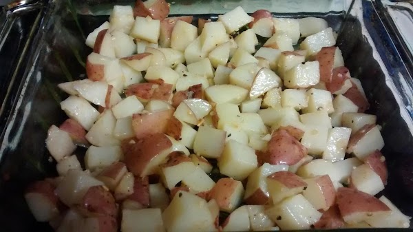 Dice potatoes and toss with olive oil, salt and pepper and fresh thyme. Transfer...