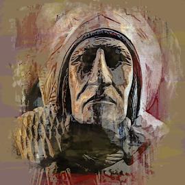 Warrior by Edward Gold - Digital Art Things ( digital photography, warrior, statue, artistic, painted effect, digital art,  )