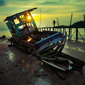The Old Ship by Rezza Herdiyanto - Transportation Boats ( sunset, shadow, ship, sea, landscape )