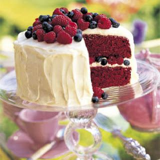 Red Velvet Cake with Raspberries and Blueberries Recipe