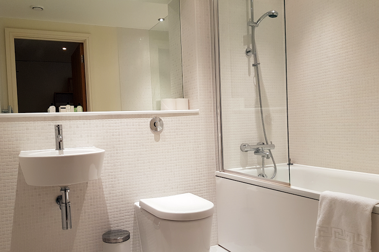 Bathroom at Canary Wharf apartment