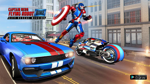 Captain Hero Flying Robot Bike City Rescue Mission for PC