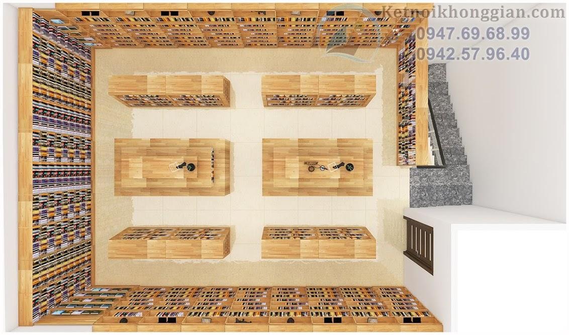 thiết kế nhà sách sử dụng gỗ thông