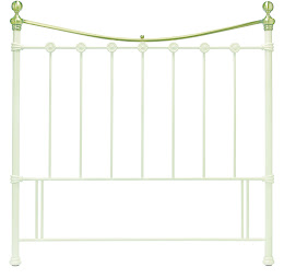 Metal Floor Standing Headboard in Antique White & Antique Brass