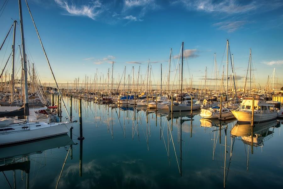 West Haven Marina, Auckland, sunset. by Graeme Hunter - Transportation Boats