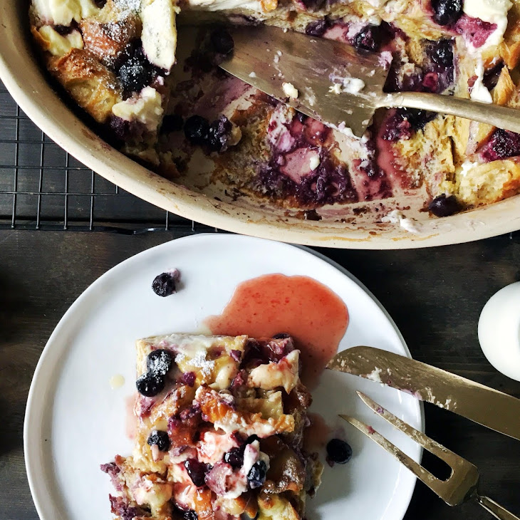 Cardamom, Blueberry, Cream Cheese Croissant French Toast Casserole Recipe