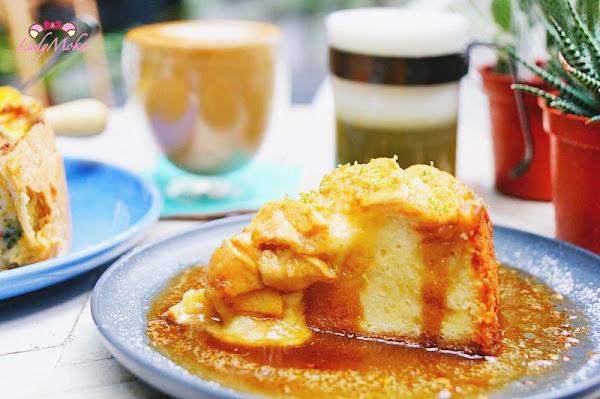 神好吃溫蘋果蛋糕佐白蘭地醬,文青你好咖啡旅店Nihao Cafe Hotel