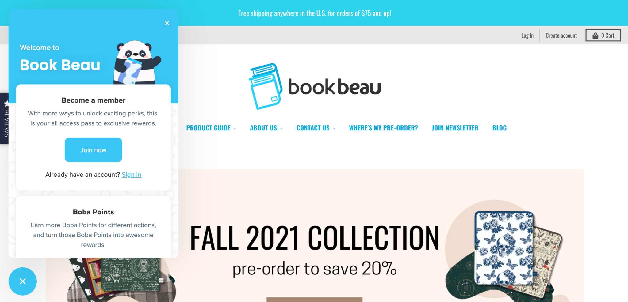 Book Beau Home Page and Rewards Panel