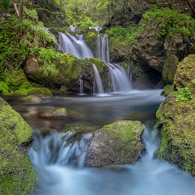 cascade Kropa by Bor Rojnik - Landscapes Waterscapes ( water, national park, waterscape, green, slovenia, waterfall, cascades, long exposure, valley, rocks,  )