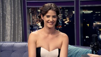 Cobie Smulders Wears a Strapless Black & White Dress