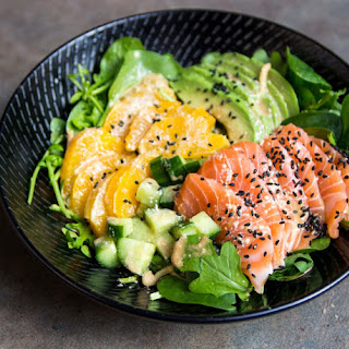Simple Sashimi Salad with Soy Sesame and Wasabi Dressing.