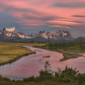 Morning at Torres del Paine by Phyllis Plotkin - Landscapes Cloud Formations ( sunrise, mountains, clouds, torres del paine, water, lenticular clouds, colors, chile )