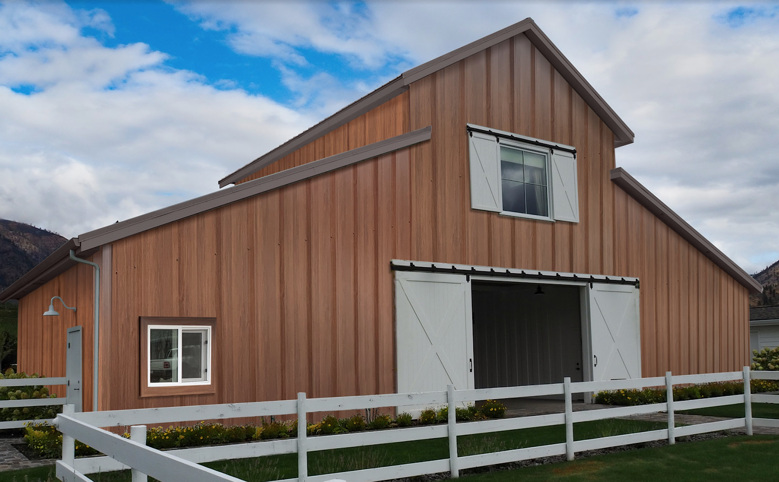 Faux wood siding is a perfect way to upgrade your barn.
