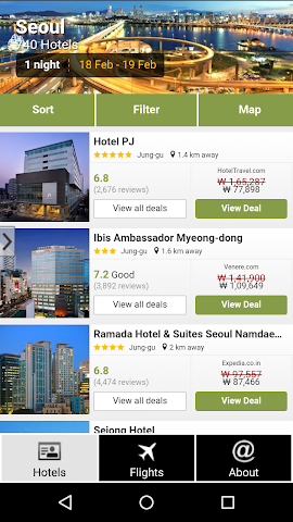 android Seoul Hotels and Flights Screenshot 0