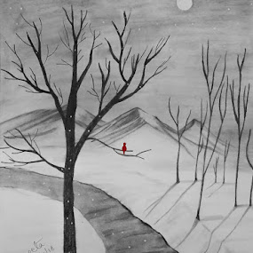 Winter Snow by Sangeeta Paul - Drawing All Drawing