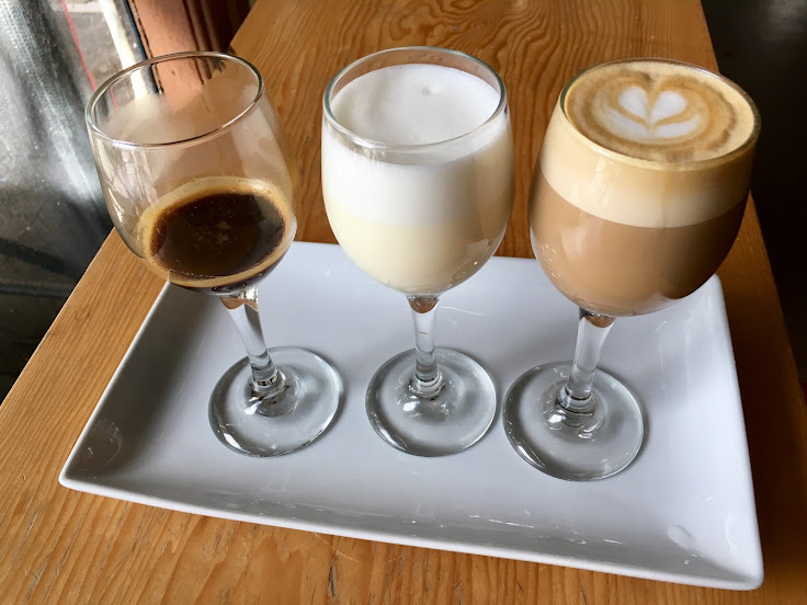 The Deconstructed Espresso + Milk: shot of espresso, glass of warmed whole milk, and a cortado