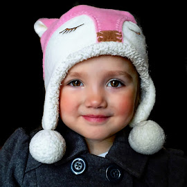 Girl With The Not So Pearl Earring by T Sco - Babies & Children Child Portraits ( button, coat, earring, kid, lady, winter, hat, girl, portrait, smile )