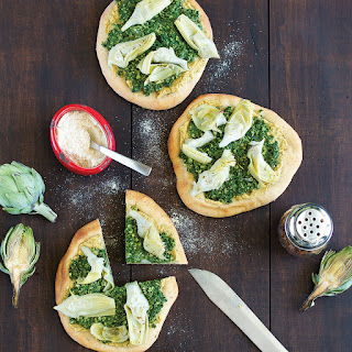 Artichoke Pizza with Spinach Pesto