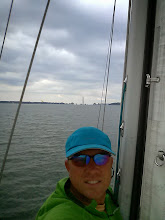 Photo: Jeff at the mast as we enter Put-In- Bay, OH