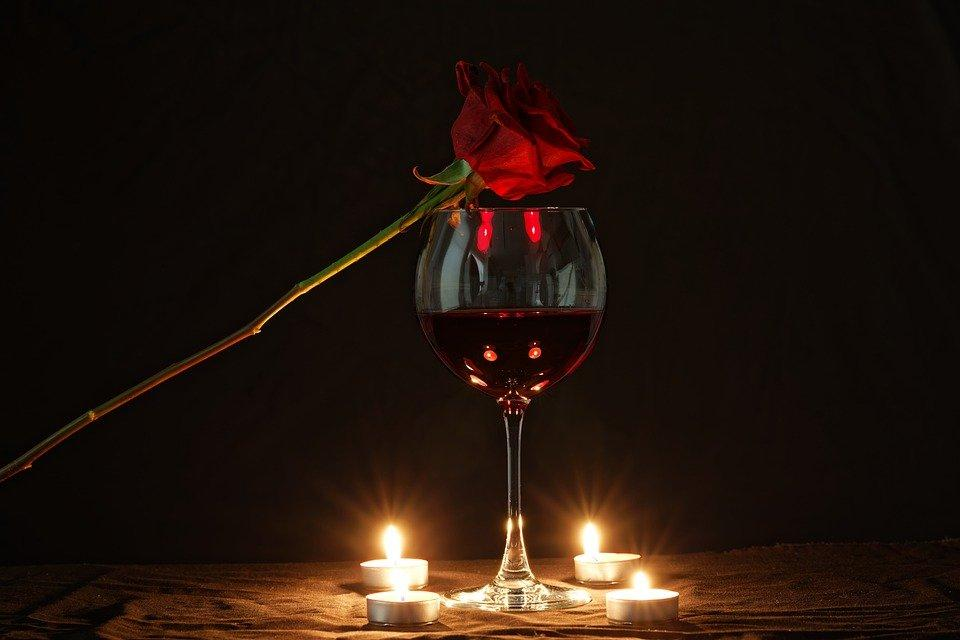 Rose, Wine, Candles, Flower, Red Rose, Red Wine