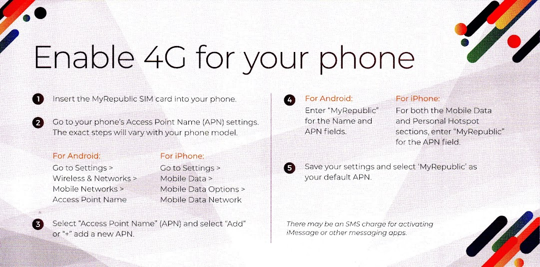 MyRepublic SIM card APN instructions.