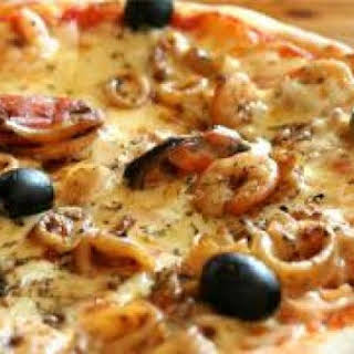 Pineapple and Olive Seafood Pizza.