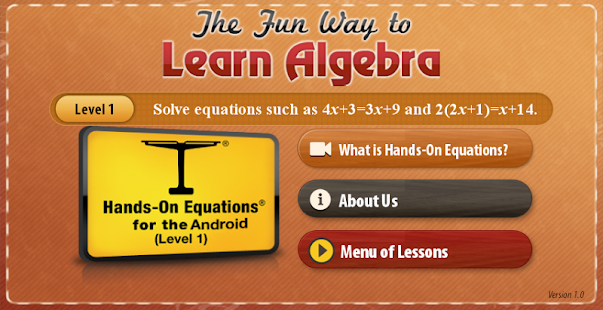 Hands-On Equations 1: The Fun Way to Learn Algebra 1.7.7 APK + Mod (Paid for free / Free purchase) إلى عن على ذكري المظهر