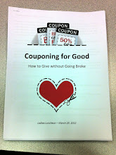 Photo: We had about 30 ladies join us for lunch. A friend shared about Ryves Youth Center feeding programs, and I shared basic coupon info and how to give without going broke. This was the handout!