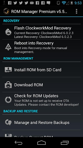ROM Manager screenshot 1