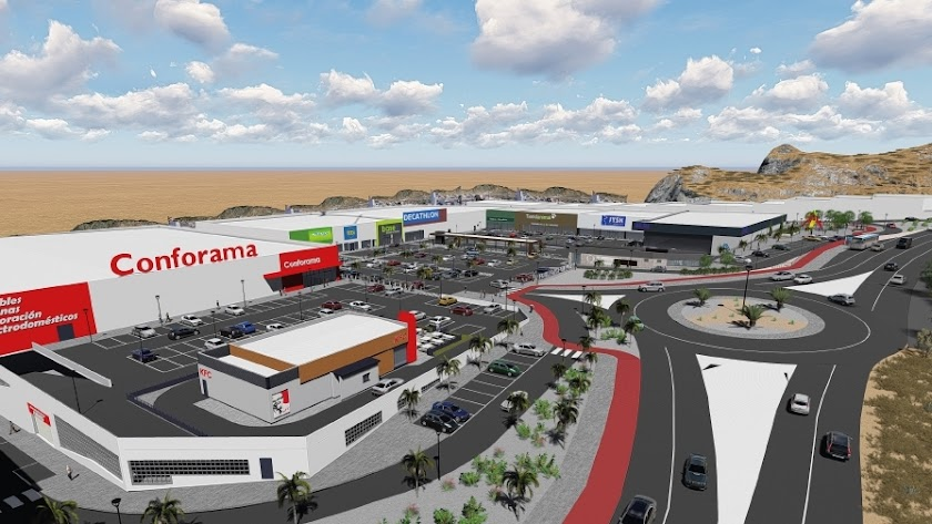 Imagen virtual del nuevo Parque Comercial en la Cuesta de los Callejones de Huércal.