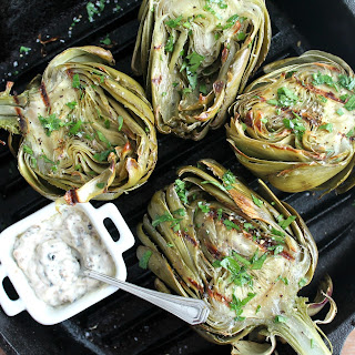 Roasted Artichokes with Black Truffle Aioli
