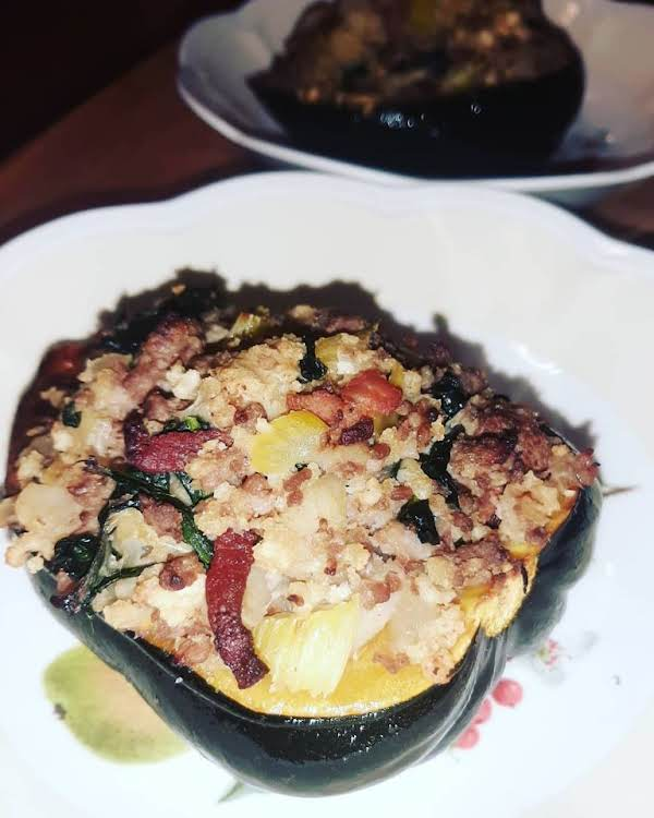 Acorn Squash Stuffed With A Sausage Filling.