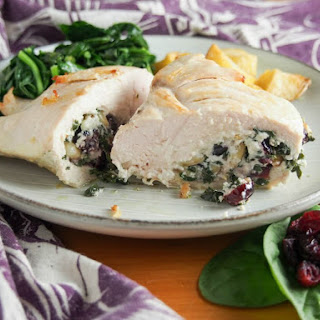 Goat Cheese Stuffed Chicken With Spinach And Cranberries.