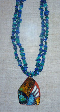 Photo: Copper enamel pendant, chrysocolla, 14K gold vermeil  SOLD/ПРОДАНИЙ