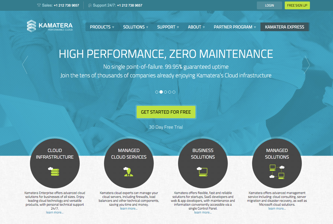kamatera cloud hosting homepage