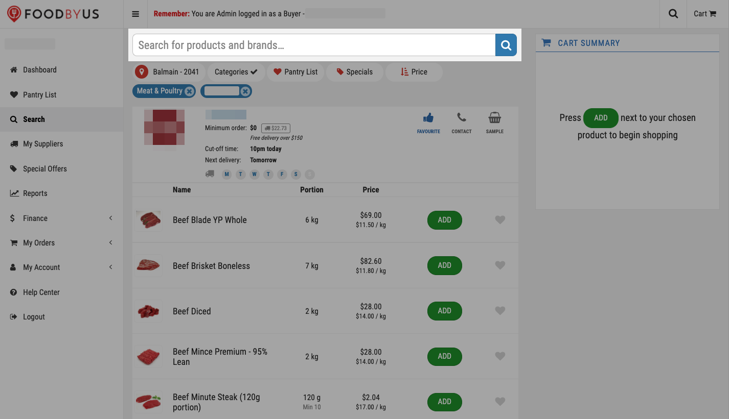 FoodByUs_dashboard_search_marketplace_meat_and_poultry_choose_supplier_search_for_products