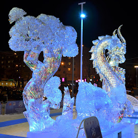 The dragon_ice sculpture festival by Svetlana Saenkova - Artistic Objects Other Objects ( blue, perm, ice sculpture, ice festival, ice, dragon,  )