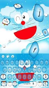 Blue Cat Cartoon Keyboard Theme - náhled