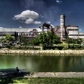 fisherman by Riccardo Lazzari - Buildings & Architecture Other Exteriors ( water, cremona, factory, fisherman, channel,  )