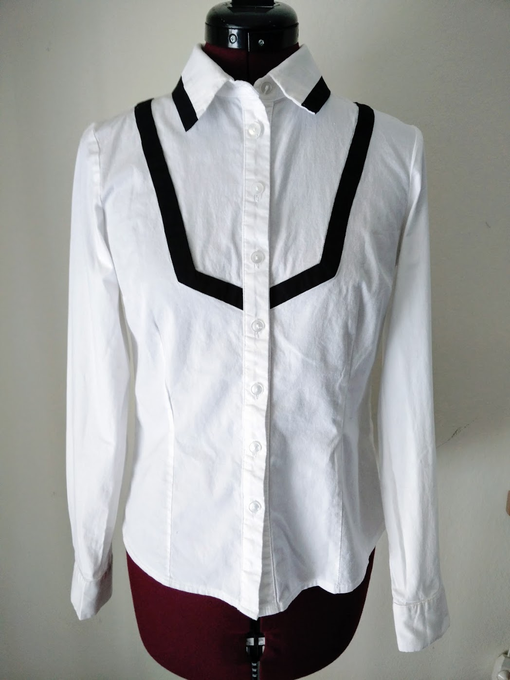 Material: Lace Ribbon Trim Bib Shirt Refashion - DIY Fashion Garments | fafafoom.com