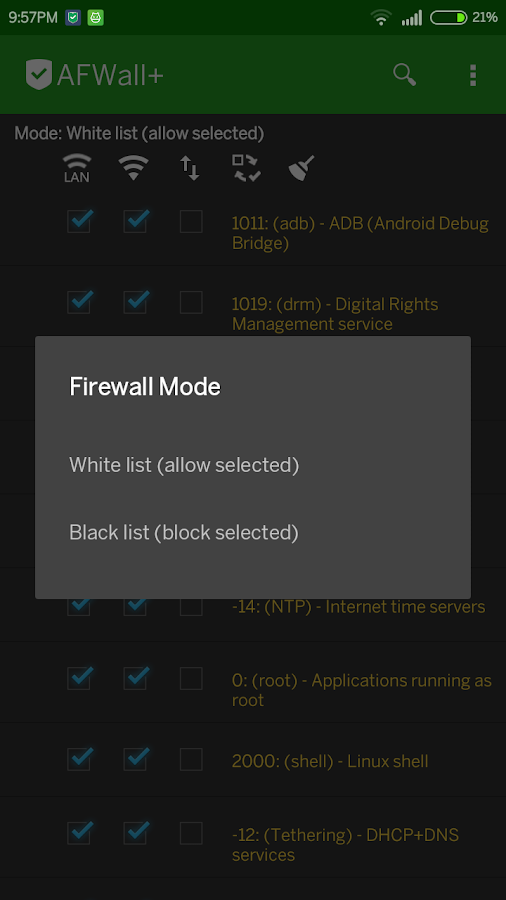 AFWall+ (Android Firewall +)- screenshot