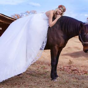 Runaway Bride by Sheila Scott Carroll - Wedding Bride ( barn, horse, wedding dress, bride, country )